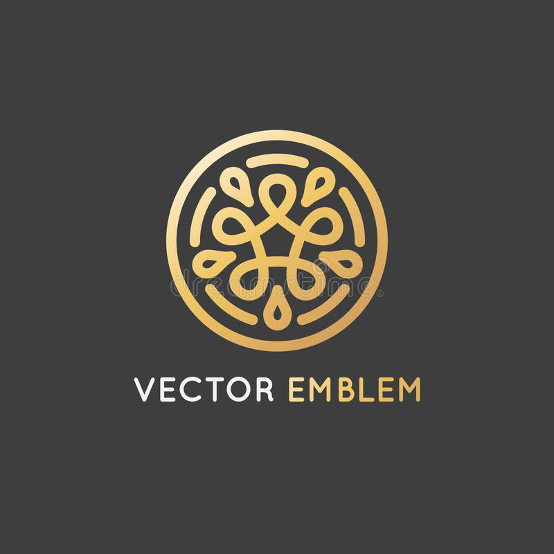 Het vectordiemalplaatje van het embleemontwerp met oneindige gouden lijnen wordt gemaakt - royalty-vrije illustratie