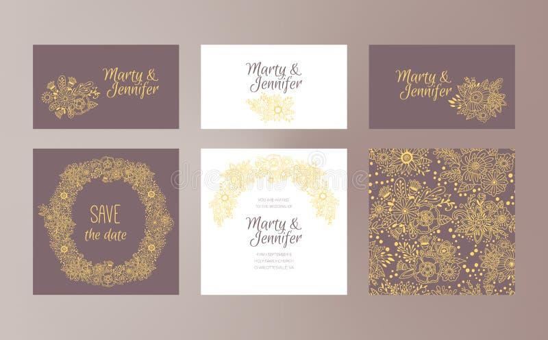 Het vectordiemalplaatje van het huwelijksontwerp met hand getrokken bloemenornamenten wordt geplaatst royalty-vrije illustratie