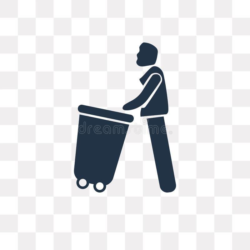 Het vectordiepictogram van Carry Garbage op transparante achtergrond, Ca wordt geïsoleerd stock illustratie