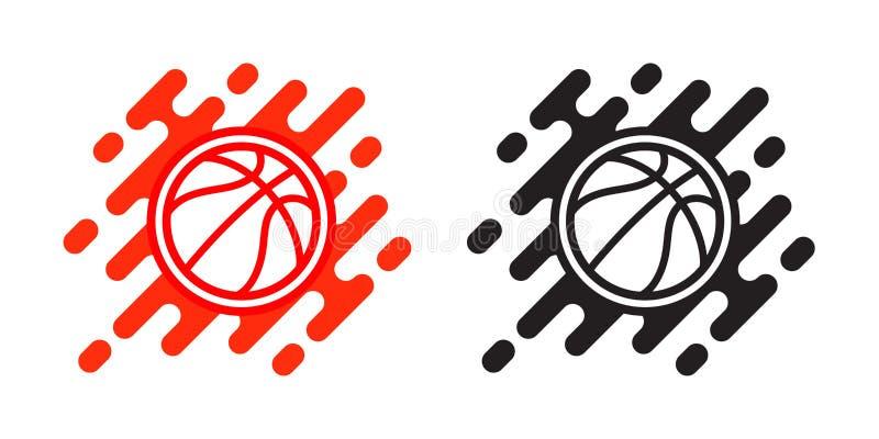 Het vectordiepictogram van de basketbalbal op wit wordt geïsoleerd Het ontwerp van het basketbalembleem Illustratie van openlucht royalty-vrije illustratie