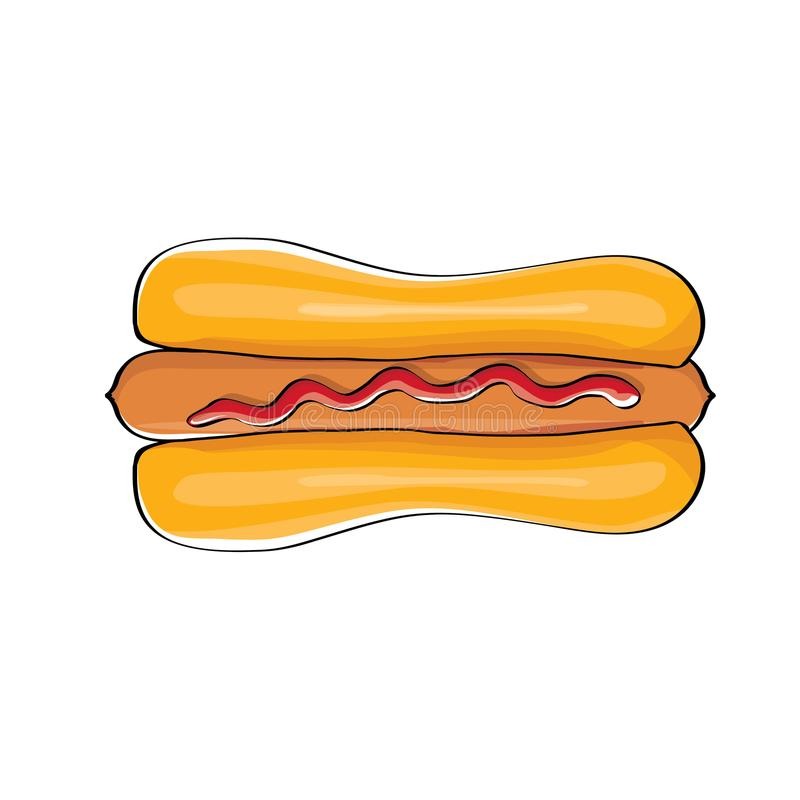 Het vectordiepictogram van de beeldverhaalhotdog met worst op witte achtergrond wordt geïsoleerd Uitstekend het ontwerpelement va vector illustratie