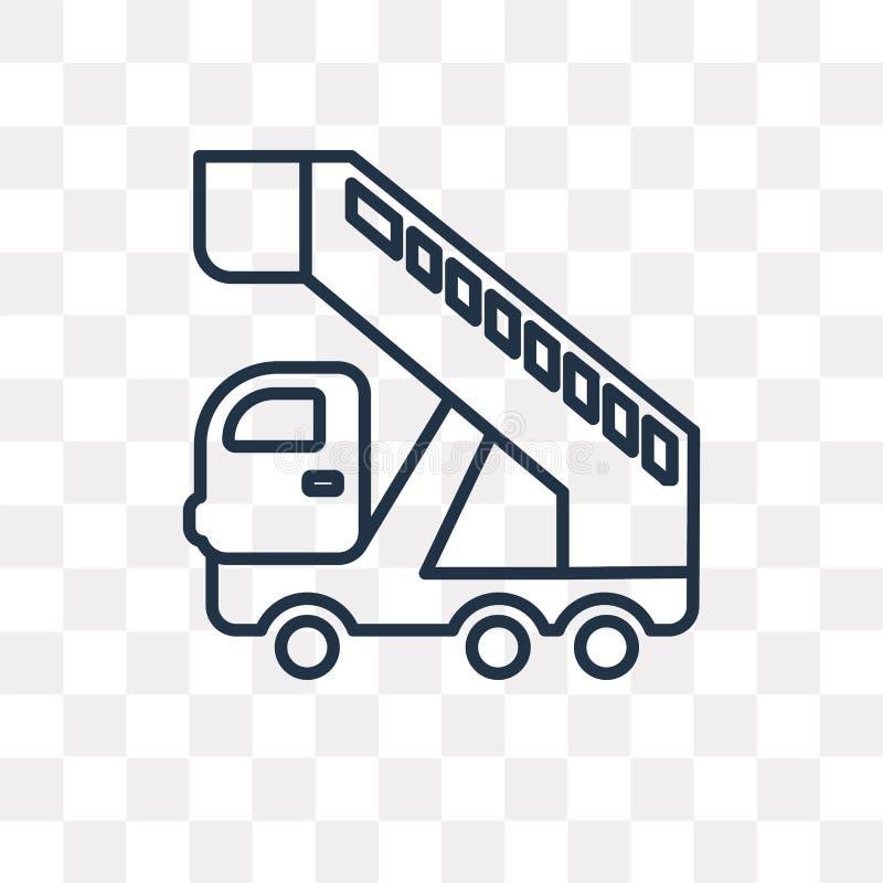 Het vectordiepictogram van de doorgangsvrachtwagen op transparante achtergrond, Li wordt geïsoleerd royalty-vrije illustratie