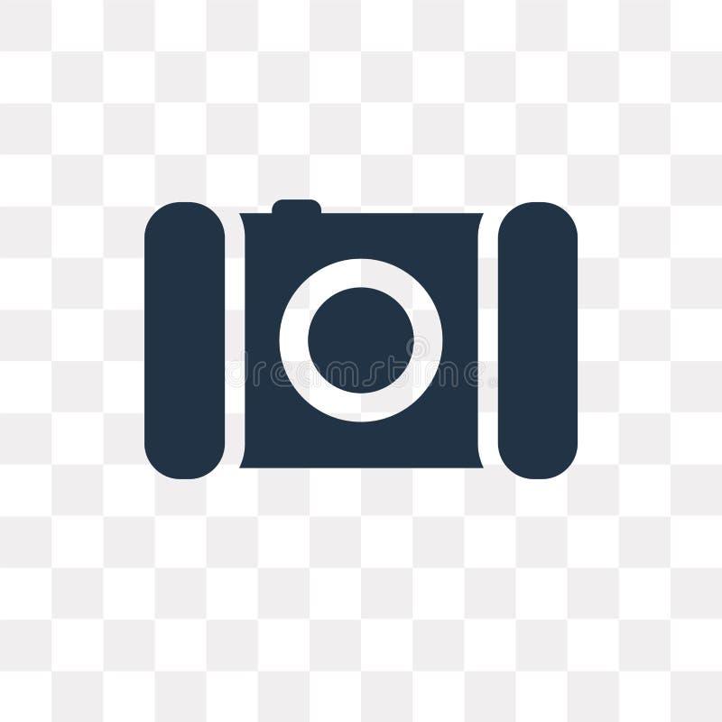 Het vectordiepictogram van de fotocamera op transparante achtergrond, Pho wordt geïsoleerd vector illustratie