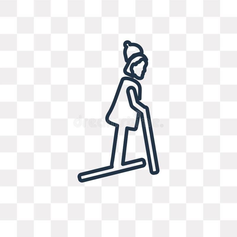 Het vectordiepictogram van de skiërvrouw op transparante achtergrond, lijn wordt geïsoleerd stock illustratie