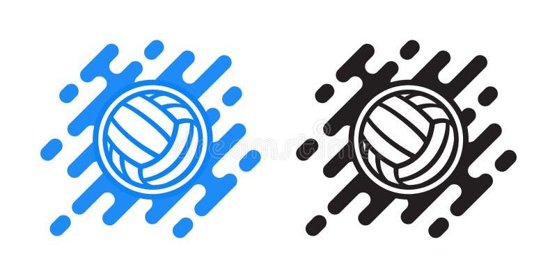 Het vectordiepictogram van de volleyballbal op wit wordt geïsoleerd De bal vectorpictogram van het waterpolo vector illustratie