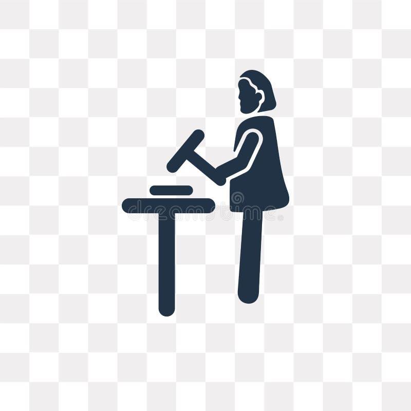 Het vectordiepictogram van de vrouwensmid op transparante achtergrond wordt geïsoleerd, vector illustratie