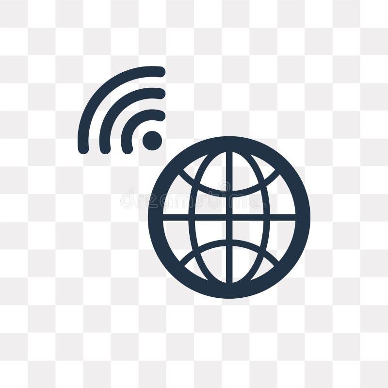 Het vectordiepictogram van Internet op transparante achtergrond, Intern wordt geïsoleerd royalty-vrije illustratie