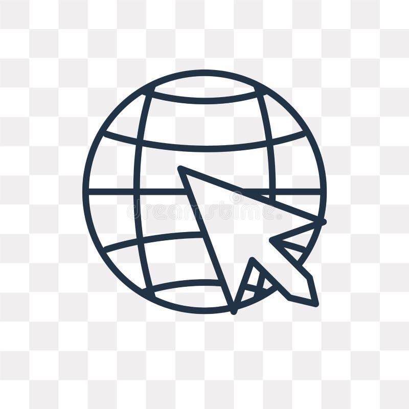 Het vectordiepictogram van Internet op transparante lineaire achtergrond wordt geïsoleerd, vector illustratie