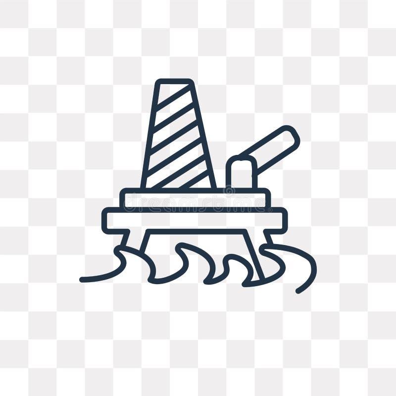 Het vectordiepictogram van het olieplatform op transparante achtergrond wordt geïsoleerd, lin royalty-vrije illustratie