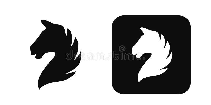 Het vectordiepictogram van het paardhoofd op wit wordt geïsoleerd Het embleem van het paardhoofd Het silhouet van het paardhoofd vector illustratie