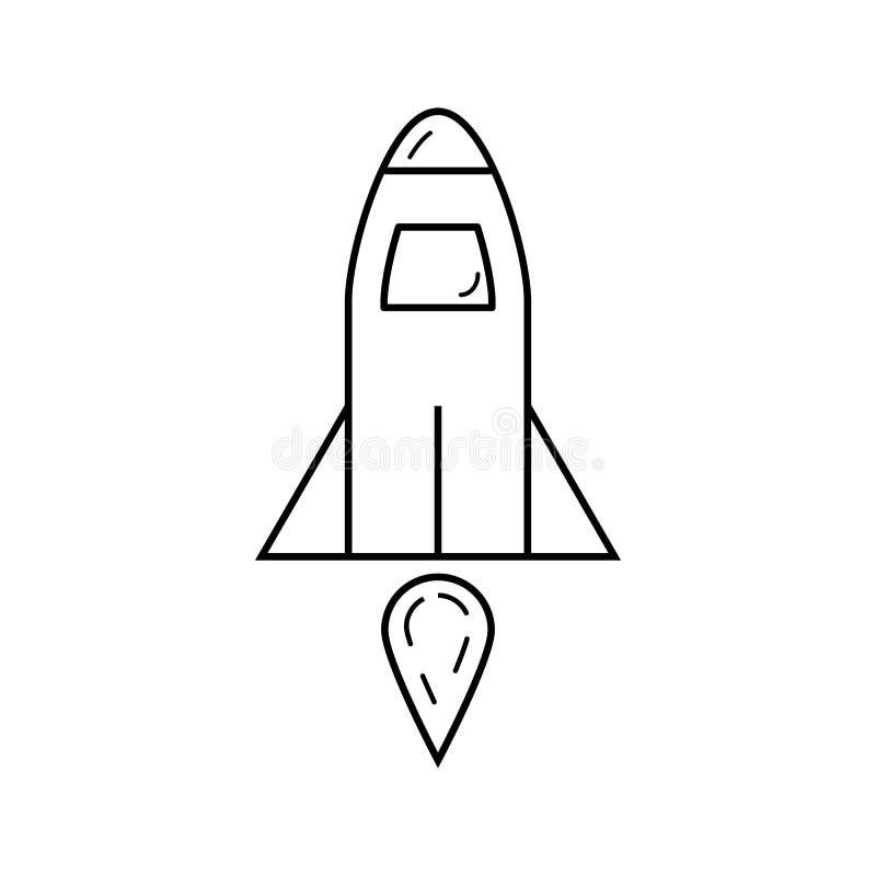 Het vectordiepictogram van het raketoverzicht op witte achtergrond voor grafisch ontwerp wordt geïsoleerd, embleem, website, soci stock illustratie