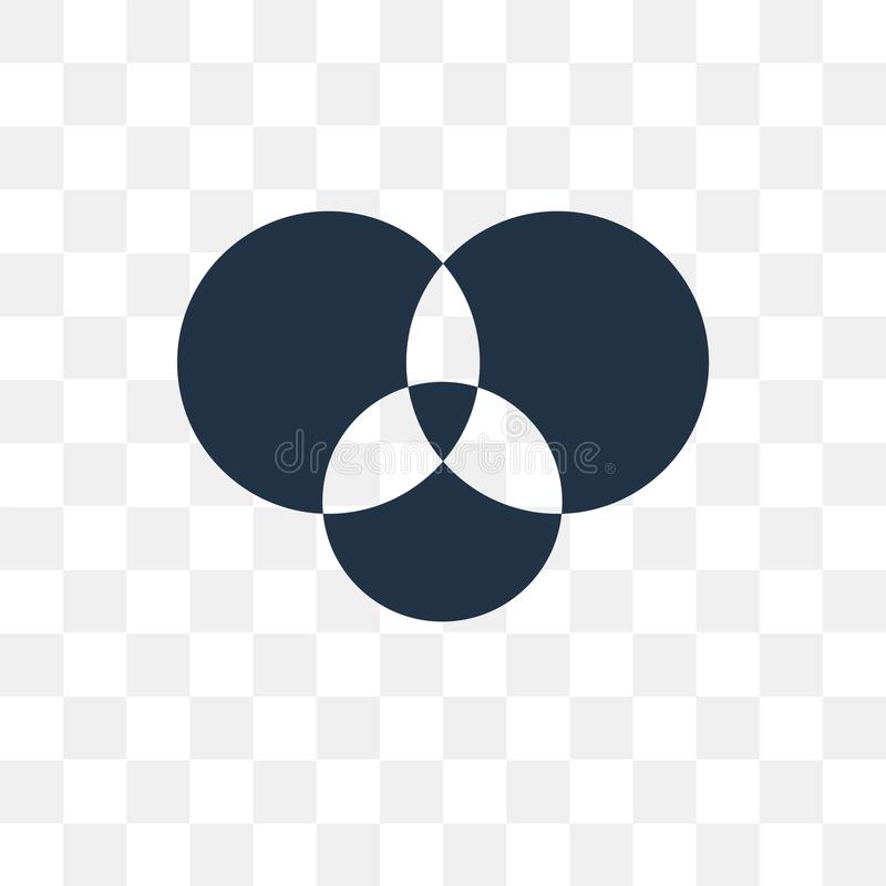 Het vectordiepictogram van het Venndiagram op transparante achtergrond, Ven wordt geïsoleerd vector illustratie