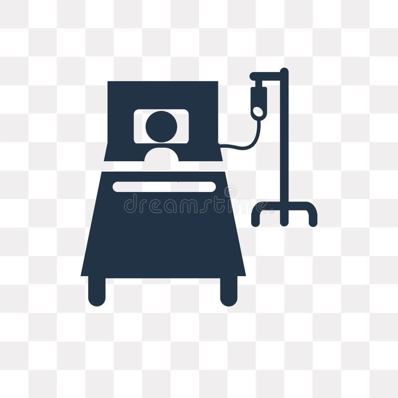Het vectordiepictogram van het het ziekenhuisbed op transparante achtergrond, Hos wordt geïsoleerd vector illustratie