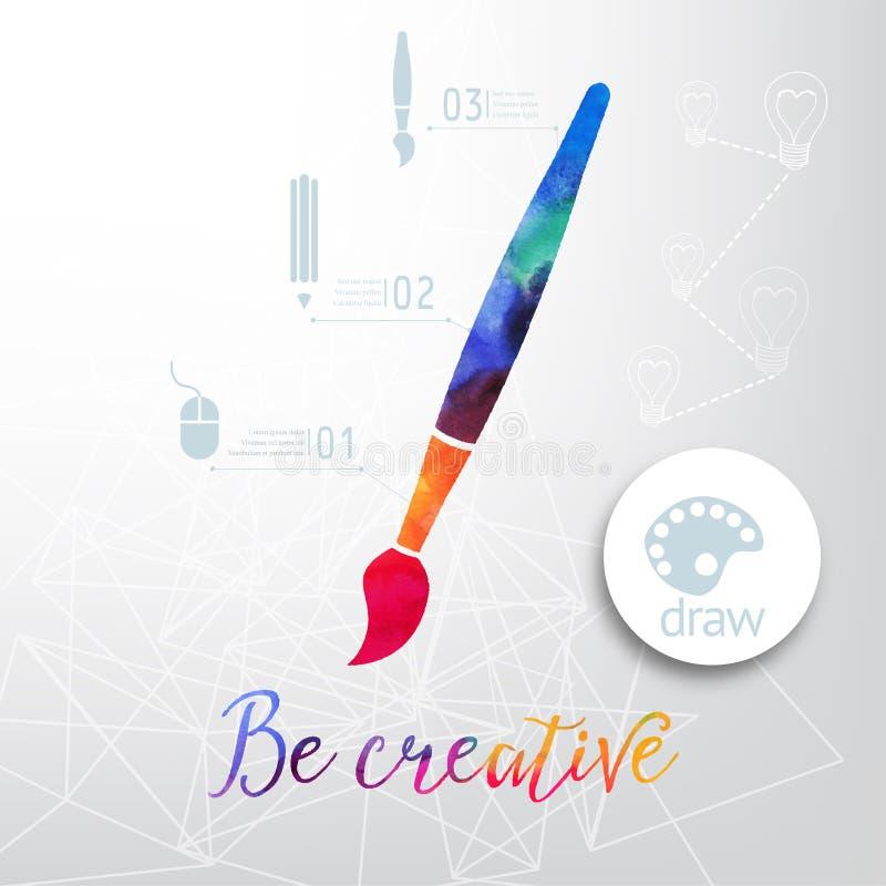 Het vectordiesilhouet van de verfborstel van waterverf, creatieve pictogrammen, waterverf creatief concept wordt gemaakt Vectorco stock illustratie