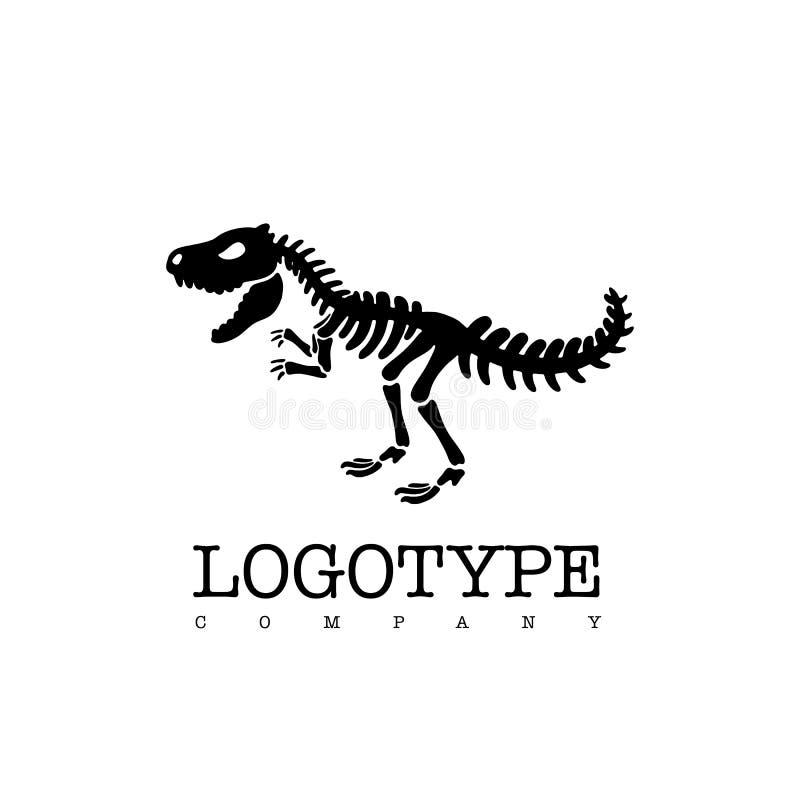Het vectordieskelet t -t-rex van de logotypedinosaurus op witte achtergrond wordt geïsoleerd vector illustratie