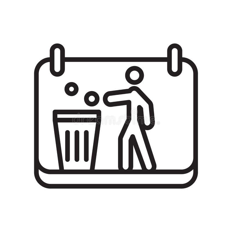 Het het vectordieteken en symbool van het afvalpictogram op witte achtergrond, het concept van het Afvalembleem wordt geïsoleerd vector illustratie