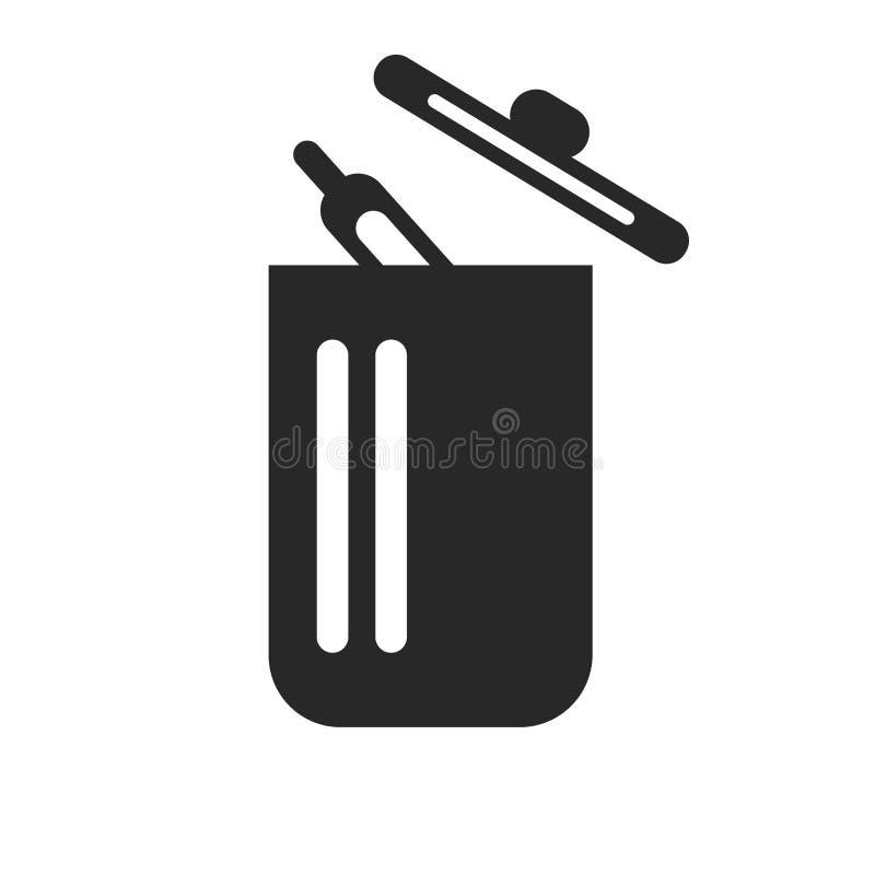 Het het vectordieteken en symbool van het afvalpictogram op witte achtergrond, het concept van het Afvalembleem wordt geïsoleerd stock illustratie