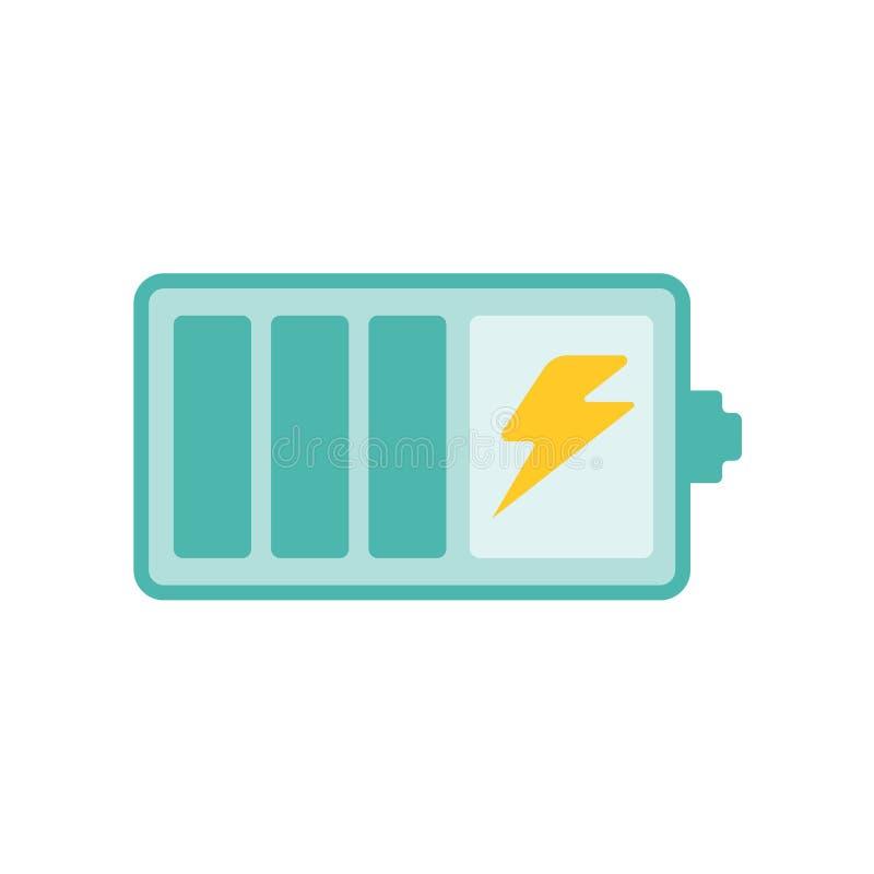 Het het vectordieteken en symbool van het batterijpictogram op witte achtergrond wordt geïsoleerd stock illustratie