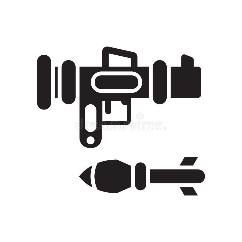 Het het vectordieteken en symbool van het bazookapictogram op witte achtergrond wordt geïsoleerd vector illustratie