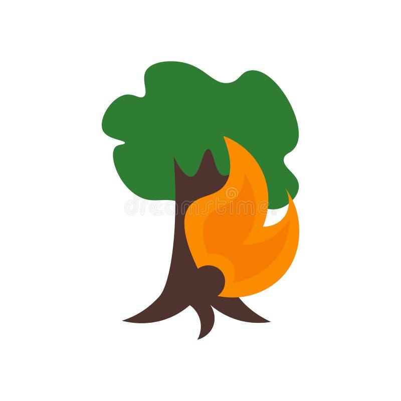 Het het vectordieteken en symbool van het bosbrandpictogram op witte achtergrond, het concept van het Bosbrandembleem wordt geïso royalty-vrije illustratie