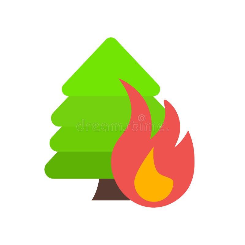 Het het vectordieteken en symbool van het bosbrandpictogram op witte backgr wordt geïsoleerd royalty-vrije illustratie