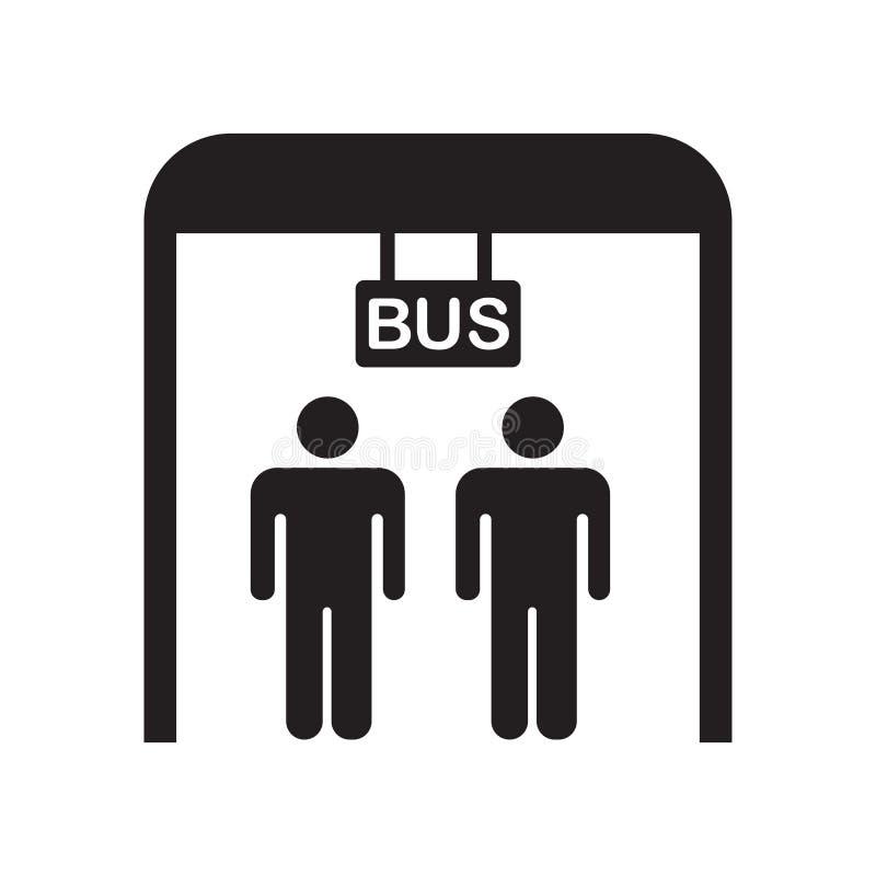 Het het vectordieteken en symbool van het bushaltepictogram op witte achtergrond wordt geïsoleerd, het concept van het bushalteem vector illustratie