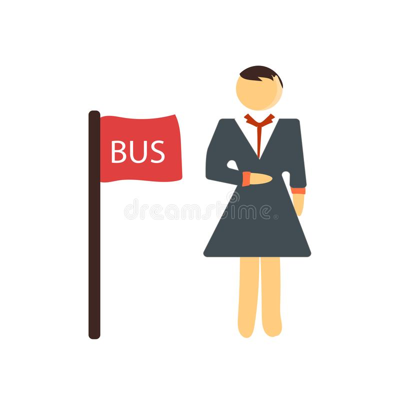Het het vectordieteken en symbool van het bushaltepictogram op witte achtergrond wordt geïsoleerd, het concept van het bushalteem stock illustratie