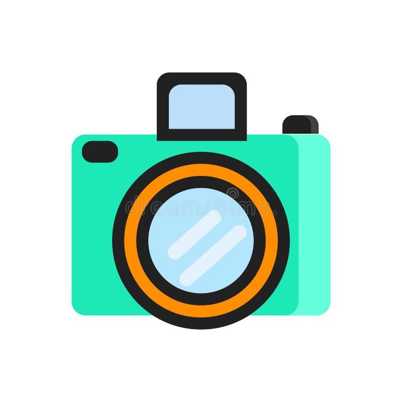 Het het vectordieteken en symbool van het camerapictogram op witte achtergrond, het concept van het Cameraembleem wordt geïsoleer stock illustratie