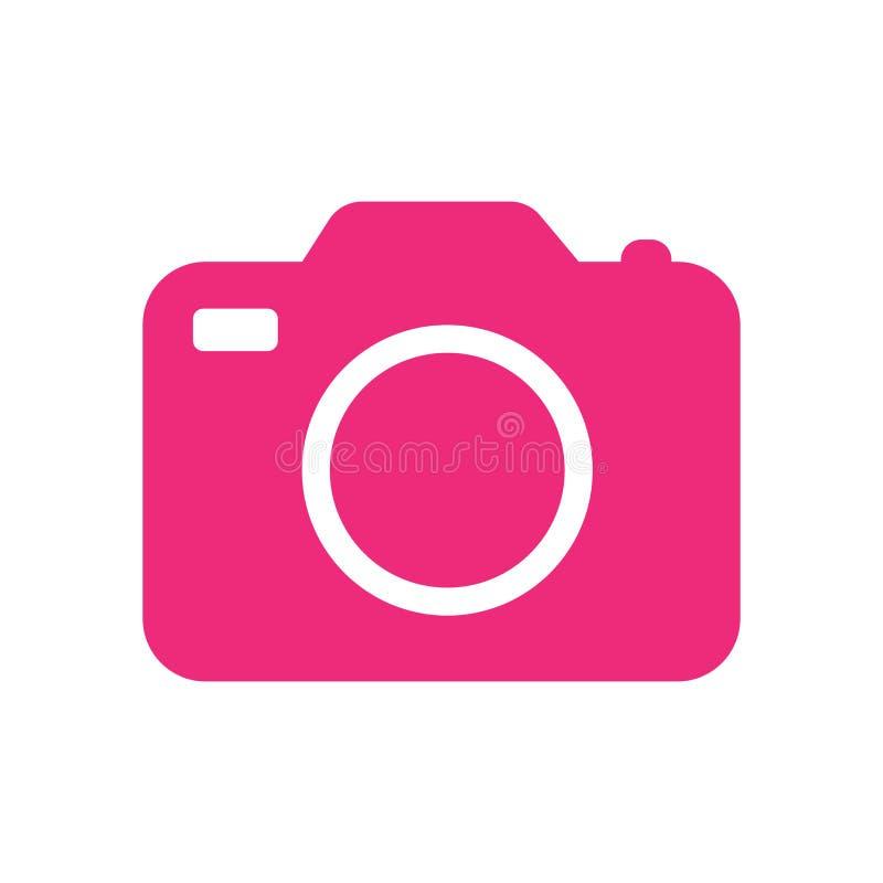 Het het vectordieteken en symbool van het camerapictogram op witte achtergrond, het concept van het Cameraembleem wordt geïsoleer vector illustratie