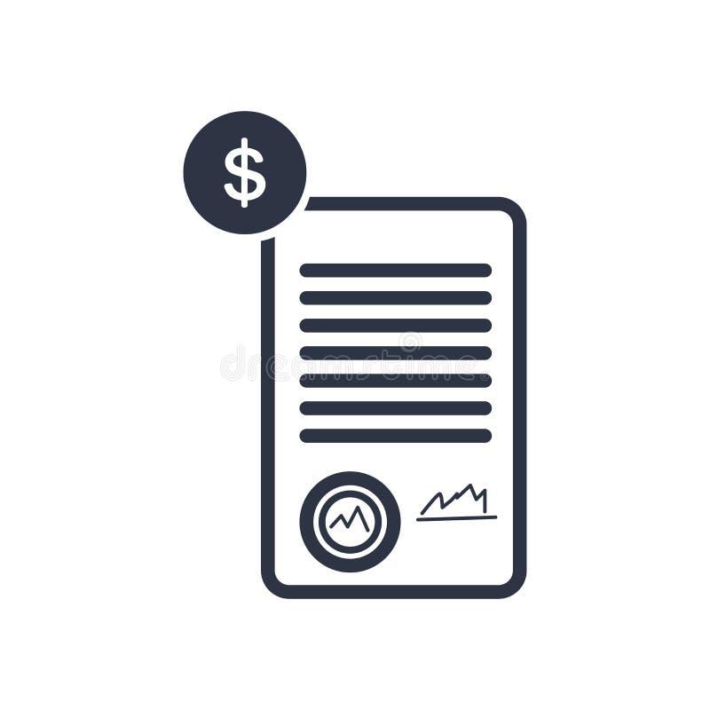 Het het vectordieteken en symbool van het contractpictogram op witte achtergrond, het concept van het Contractembleem wordt geïso stock illustratie