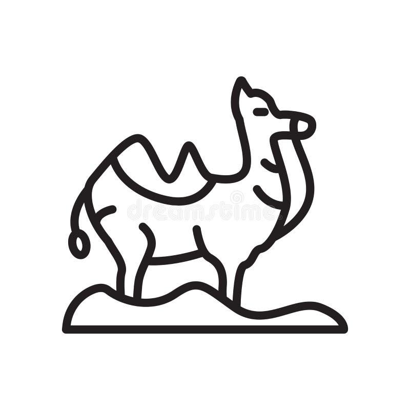 Het het vectordieteken en symbool van het dromedarispictogram op witte backgrou wordt geïsoleerd royalty-vrije illustratie