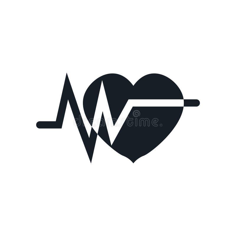 Het het vectordieteken en symbool van het elektrocardiogrampictogram op witte achtergrond, het concept van het Elektrocardiograme royalty-vrije illustratie