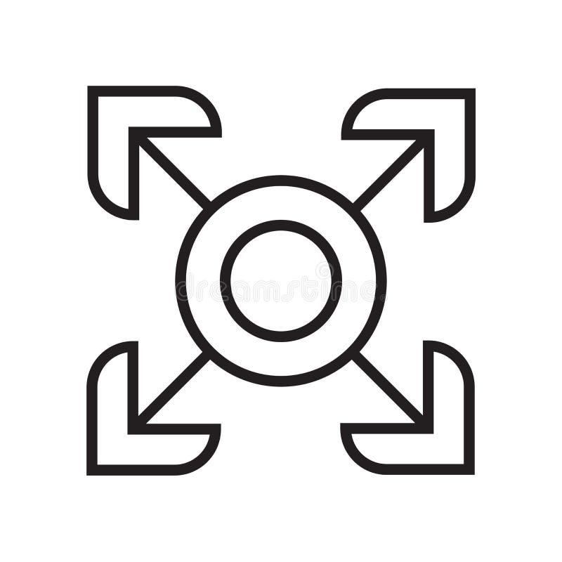 Het het vectordieteken en symbool van het Fullscreenpictogram op witte backgro wordt geïsoleerd stock illustratie