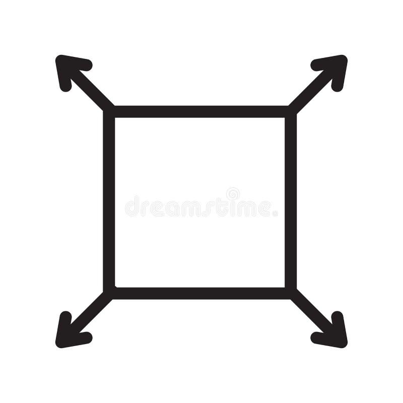 Het het vectordieteken en symbool van het Fullscreenpictogram op witte backgro wordt geïsoleerd vector illustratie