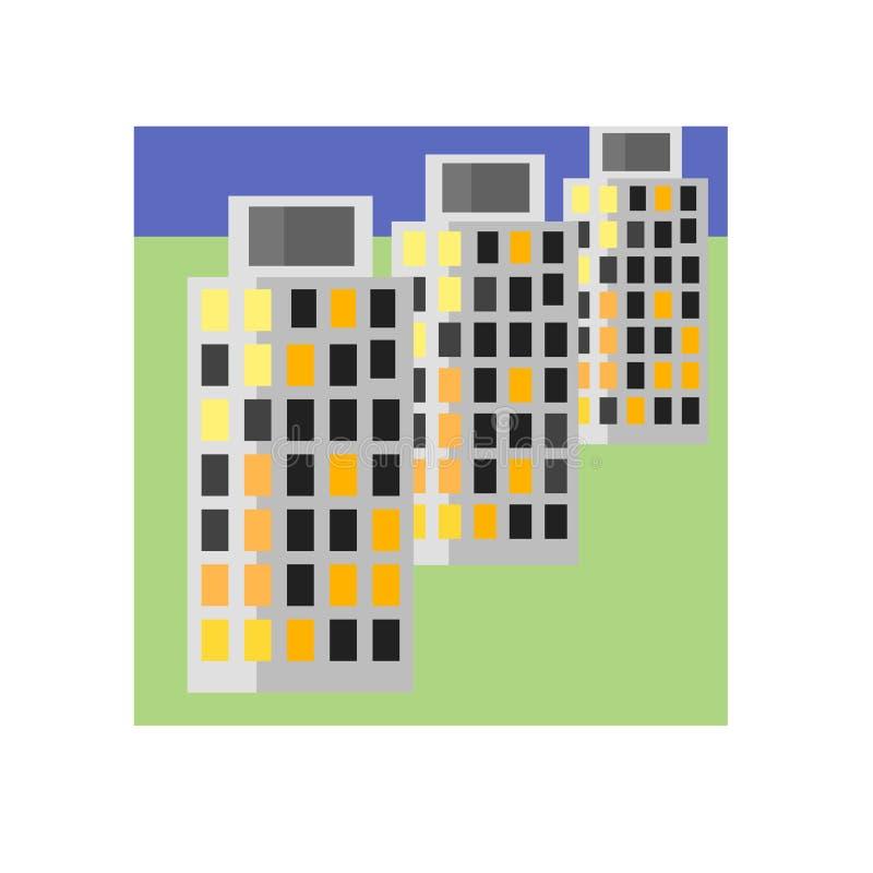 Het het vectordieteken en symbool van het gebouwenpictogram op witte achtergrond, het concept van het Gebouwenembleem wordt geïso stock illustratie