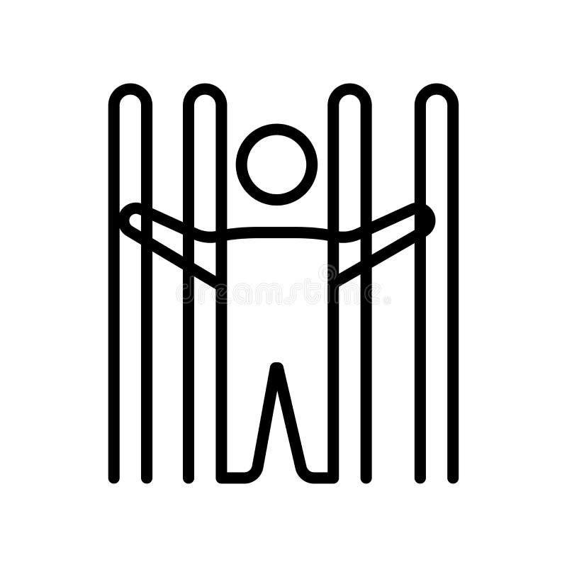 Het het vectordieteken en symbool van het gevangenispictogram op witte achtergrond wordt geïsoleerd vector illustratie