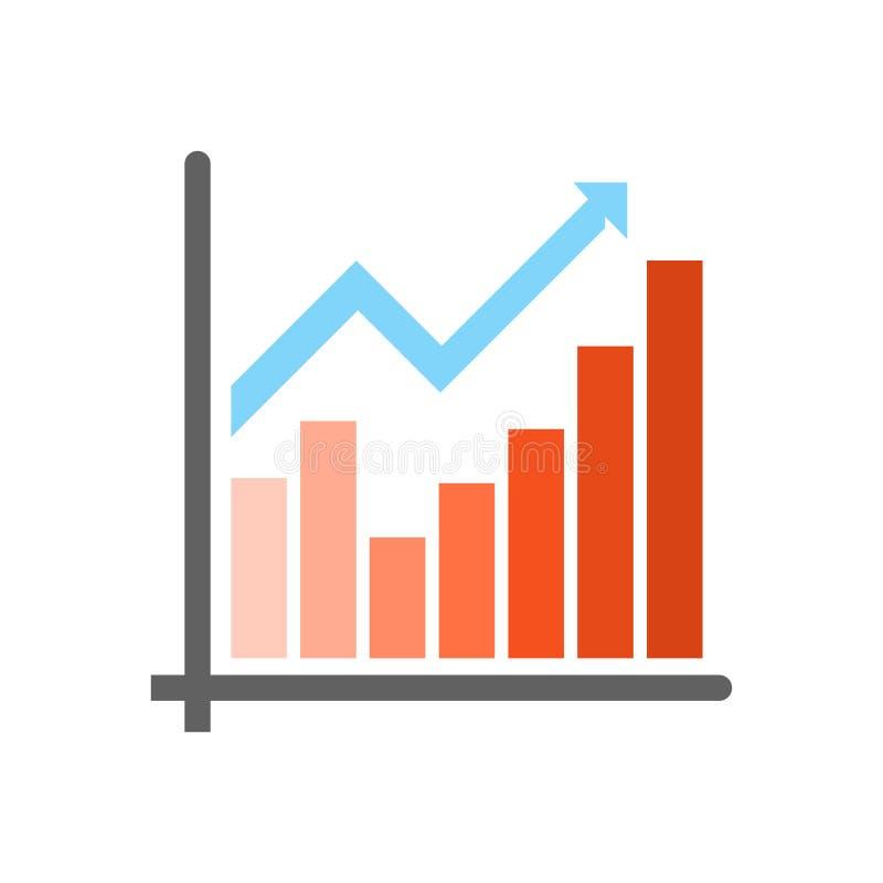 Het het vectordieteken en symbool van het grafiekpictogram op witte achtergrond, het concept van het Grafiekembleem wordt geïsole stock illustratie