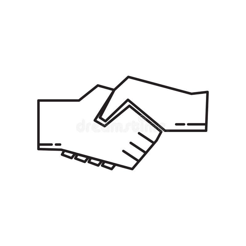 Het het vectordieteken en symbool van het handdrukpictogram op witte achtergrond, het concept van het Handdrukembleem wordt geïso vector illustratie