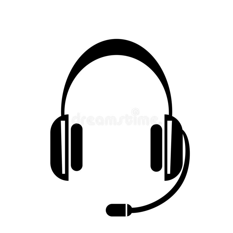 Het het vectordieteken en symbool van het hoofdtelefoonpictogram op witte achtergrond, het concept van het Hoofdtelefoonembleem w royalty-vrije illustratie