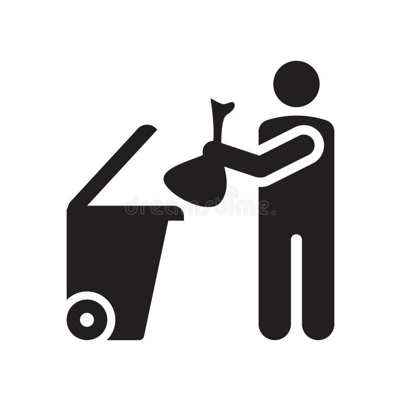 Het het vectordieteken en symbool van het huisvuilpictogram op witte achtergrond, het conceptenpictogram wordt geïsoleerd van het stock illustratie