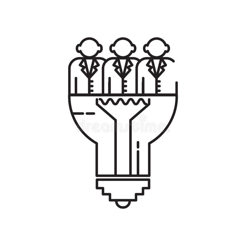Het het vectordieteken en symbool van het ideepictogram op witte achtergrond, het concept van het Ideeembleem wordt geïsoleerd vector illustratie