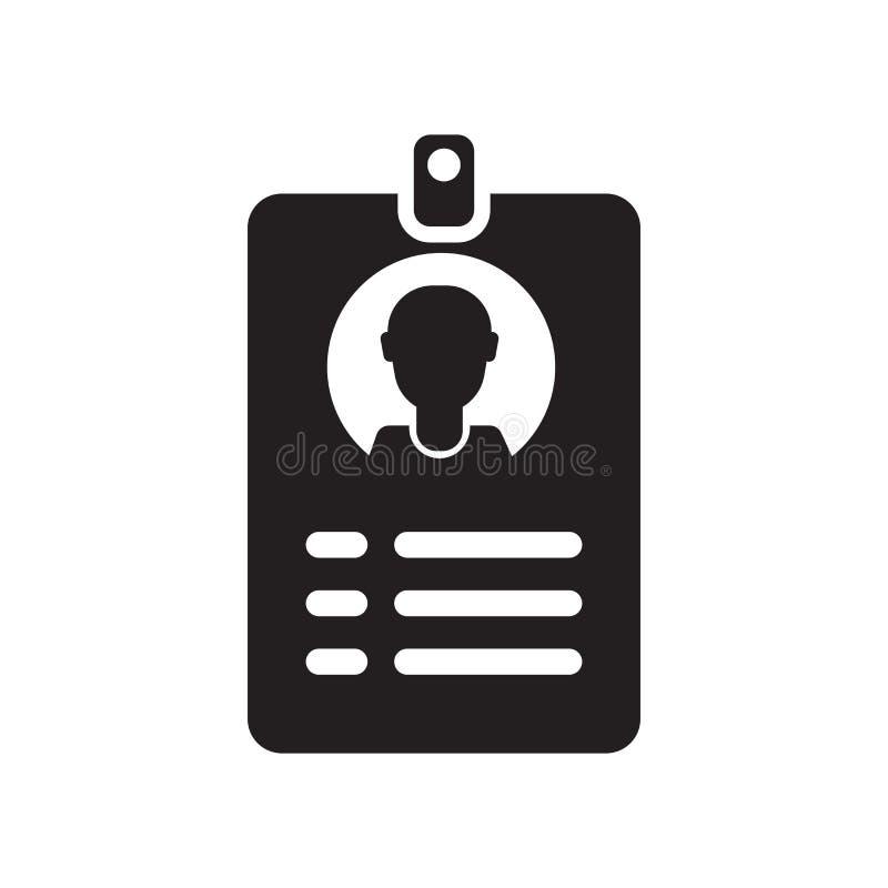 Het het vectordieteken en symbool van het identiteitskaartpictogram op witte achtergrond, het concept van het Identiteitskaartemb royalty-vrije illustratie