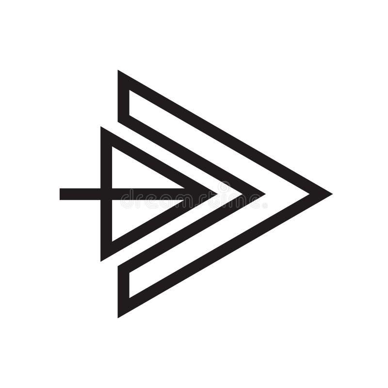 Het het vectordieteken en symbool van het juiste pijlpictogram op witte achtergrond, het concept van het Juiste pijlembleem wordt stock afbeeldingen