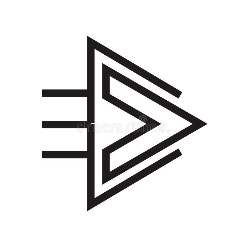 Het het vectordieteken en symbool van het juiste pijlpictogram op witte achtergrond, het concept van het Juiste pijlembleem wordt royalty-vrije stock foto