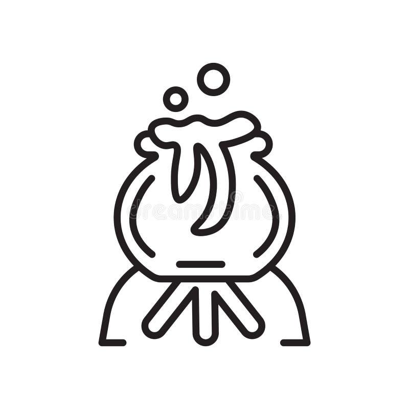 Het het vectordieteken en symbool van het ketelpictogram op witte backgroun wordt geïsoleerd stock illustratie