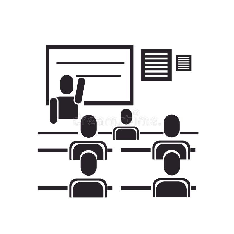 Het het vectordieteken en symbool van het klaslokaalpictogram op witte backgrou wordt geïsoleerd royalty-vrije illustratie