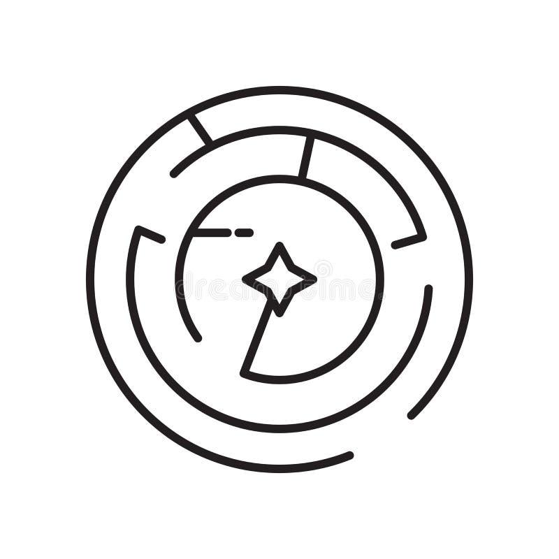 Het het vectordieteken en symbool van het labyrintpictogram op witte achtergrond, het concept van het Labyrintembleem wordt geïso royalty-vrije illustratie