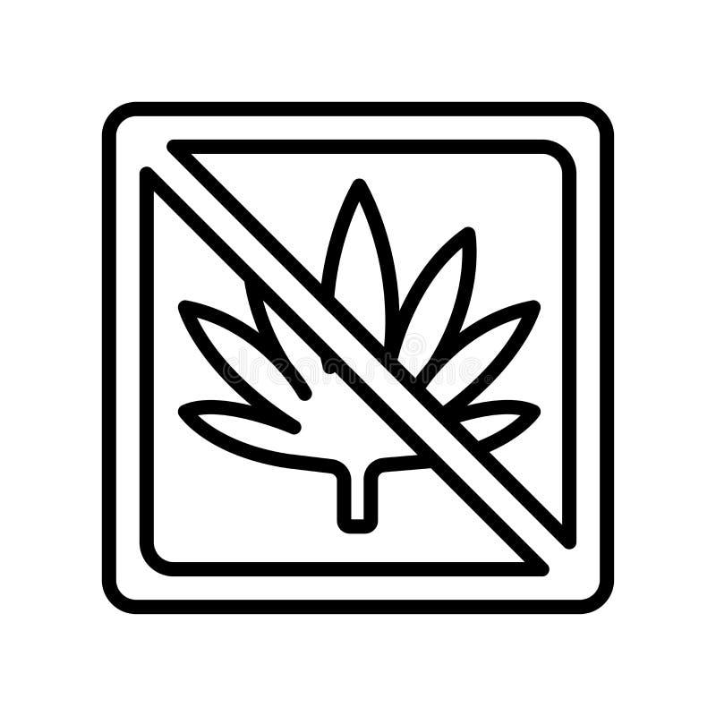 Het het vectordieteken en symbool van het marihuanapictogram op witte backgrou wordt geïsoleerd vector illustratie