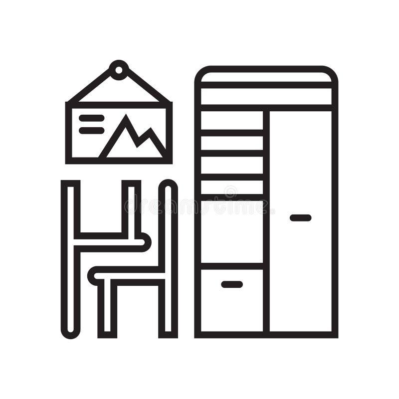 Het het vectordieteken en symbool van het meubilairpictogram op witte achtergrond, het concept van het Meubilairembleem wordt geï stock illustratie