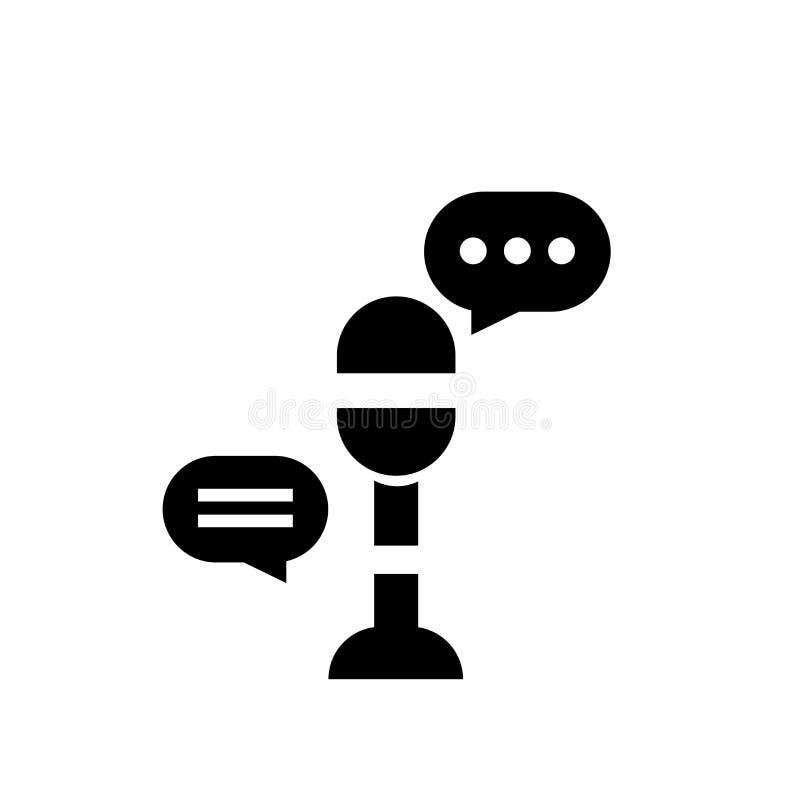 Het het vectordieteken en symbool van het microfoonpictogram op witte achtergrond, het concept van het Microfoonembleem wordt geï royalty-vrije illustratie